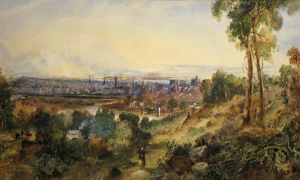 View from Melbourne over the Yarra Melbourne watercolour by Henry Easom Davies c1864. On display in the 'Paintings of Early Melbourne' tour of Old Treasury Building.