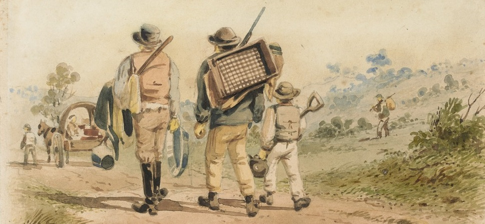 ST Gill 'Diggers on the road to Bendigo' from State Library Victoria. Put Yourself in the Picture by imagining life on the goldfields.