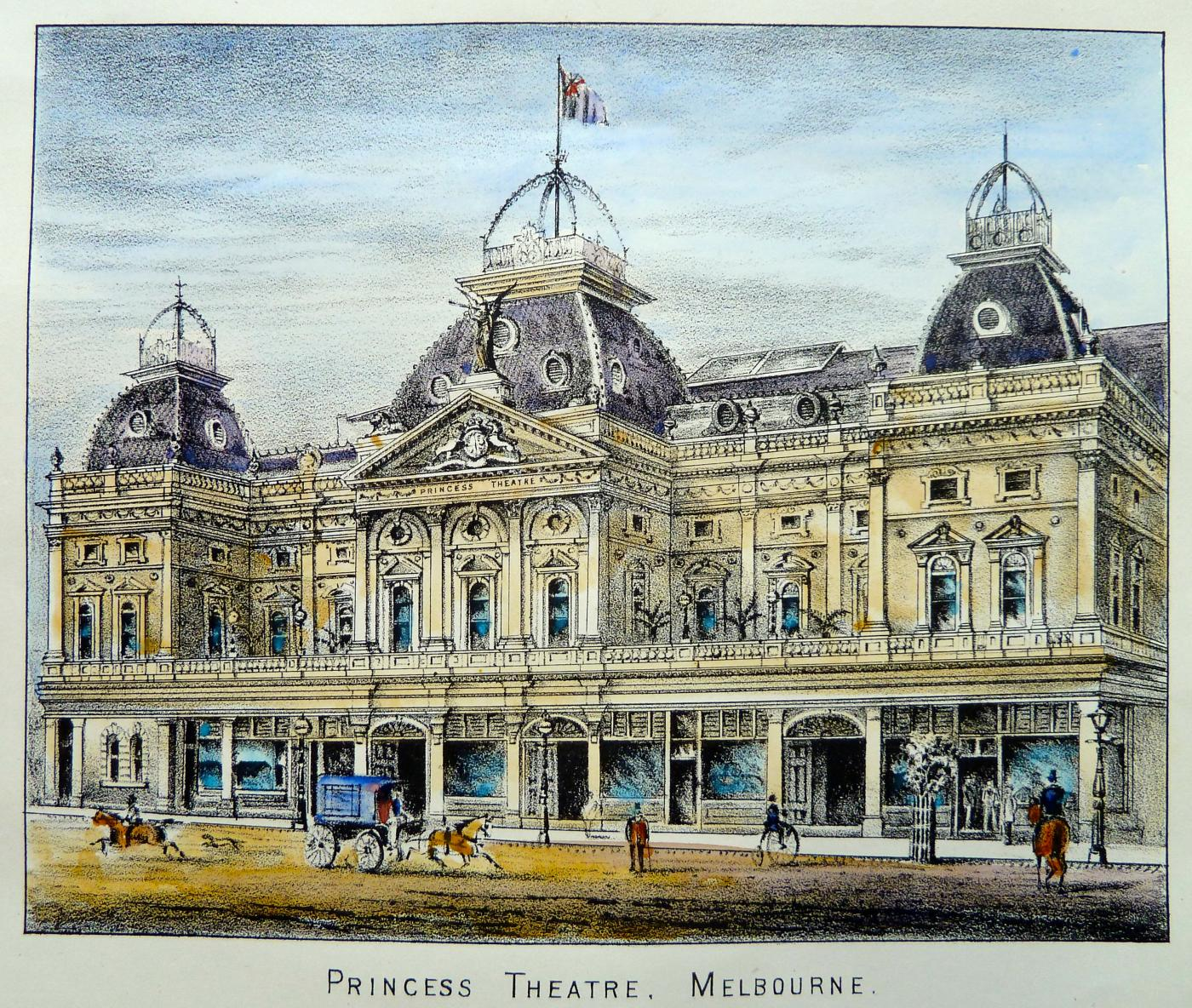 The Princess Theatre in 1875. Unknown artist. View from Melbourne over the Yarra Melbourne watercolour by Henry Easom Davies c1864. On display in the 'Paintings of Early Melbourne' tour of Old Treasury Building.