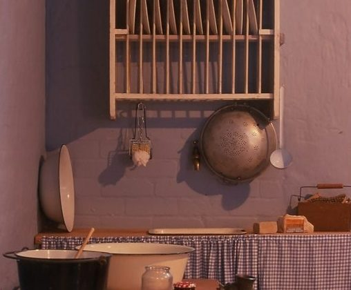 The kitchen in the Maynard caretakers apartment on display in exhibition 'Growing Up in Old Treasury' at the Old Treasury Building museum
