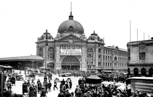 Flinders Street Station on the Intersection of Swanston and Flinders Street, c.1925. On display as part of 'Melbourne as National Capital' at Old Treasury Building.