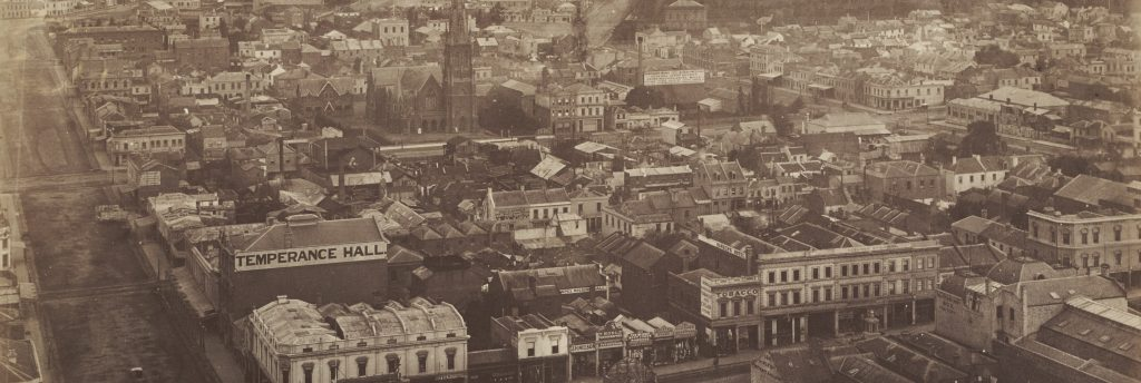 In May 1875 brothers William and Archibald Paterson climbed the spire of Scots' Church, built on one of the highest points of the city, to take this panoramic photograph of Melbourne. The panorama shows a large and sprawling metropolis, with the suburbs of East Melbourne, South Melbourne and Carlton visible in the distance.
