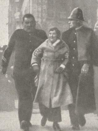 Miss Adela Pankhurst being arrested by two officers. Suffragettes were mostly involved in the anti-conscription campaign.