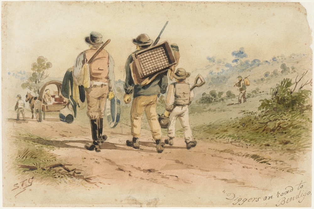 ST Gill 'Diggers on the Road to Bendigo' on display at Old Treasury Building in 'Gold Rush: 20 Objects, 20 Stories'