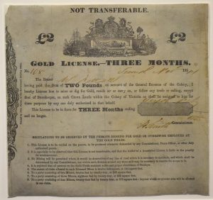 Gold Licence on display in 'Gold Rush: 20 Objects, 20 Stories' at Old Treasury Building.