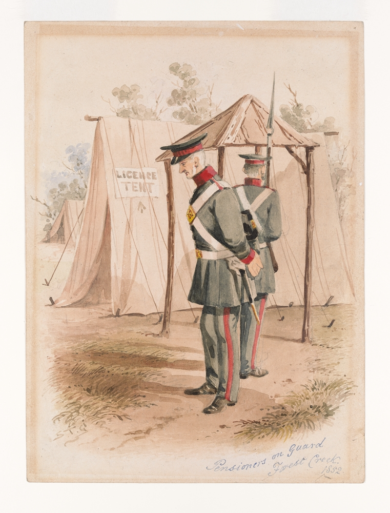 Pensioners on guard Forest Creek, 1852