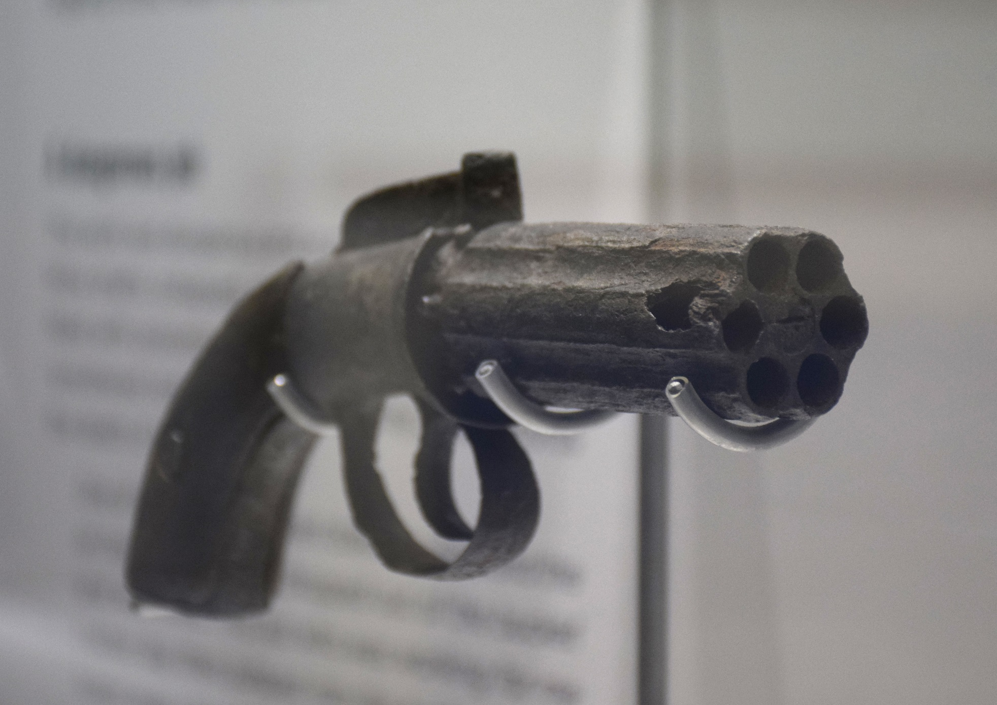 Pistol from the Eurkea Lead Ballarat. On display in 'Gold Rush: 20 Objects, 20 Stories' at Old Treasury Building.