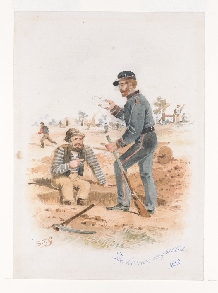 The licence inspected 1852 by S.T.Gill. Watercolour reproduced courtesy SLV