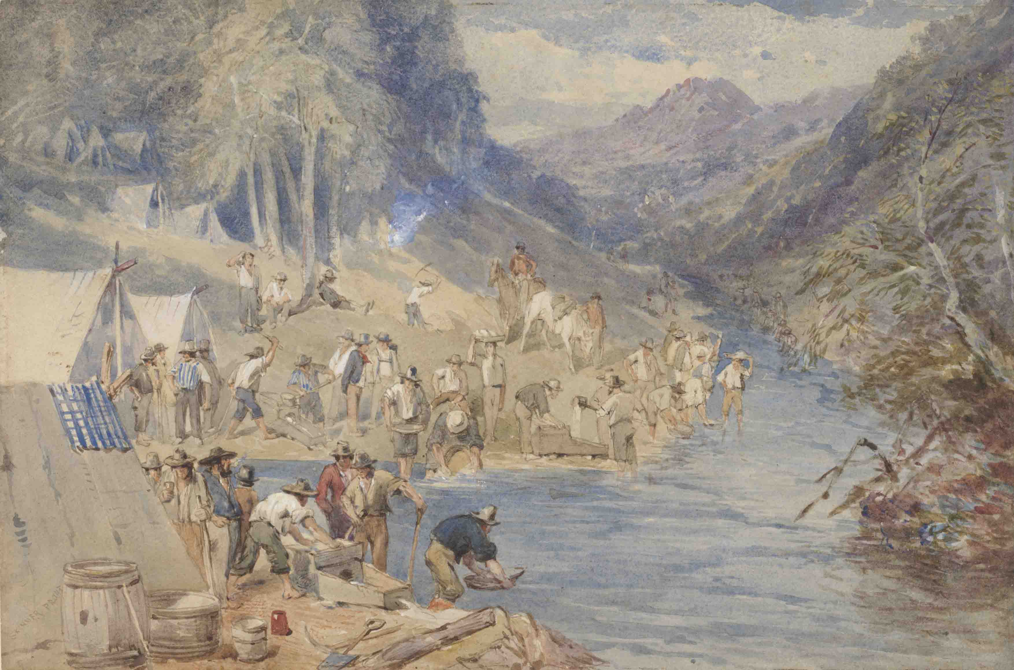 Alluvial gold washing, Mt Alexander goldfields, Victoria by John Skinner Prout, 1852. Courtesy National Library of Australia