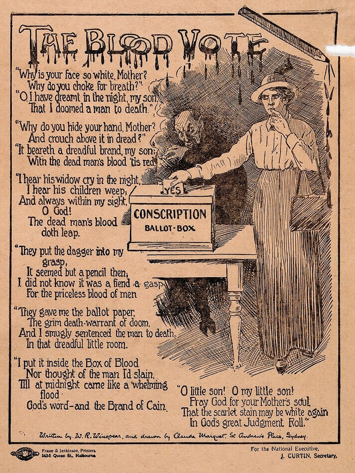 The Blood Vote. Part of the Propaganda of the Conscription debate.
