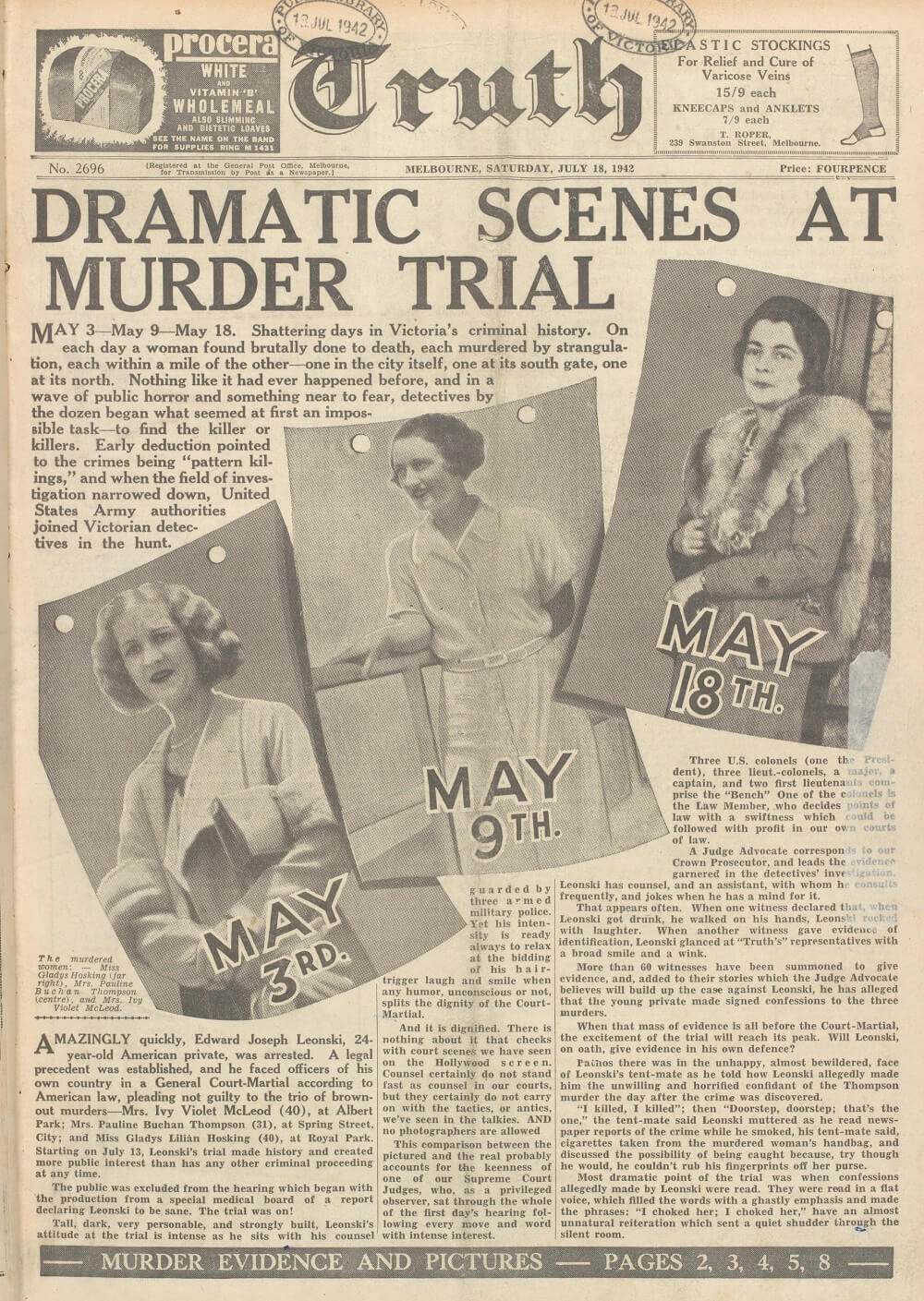 Newspaper page with headline 'Dramatic Scenes at Murder Trial'. Covers the Brownout Strangler case.