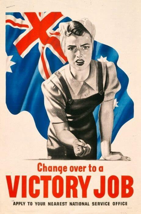 Recruitment poster for essential industries, 1943 Change Over to a Victory Job