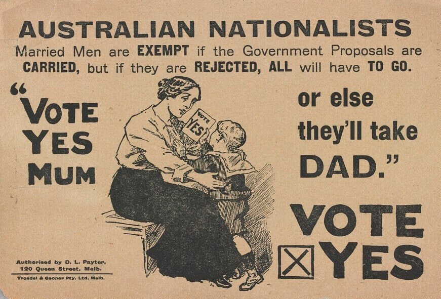 Vote Yes Mum, Pro conscription propaganda SLV sm