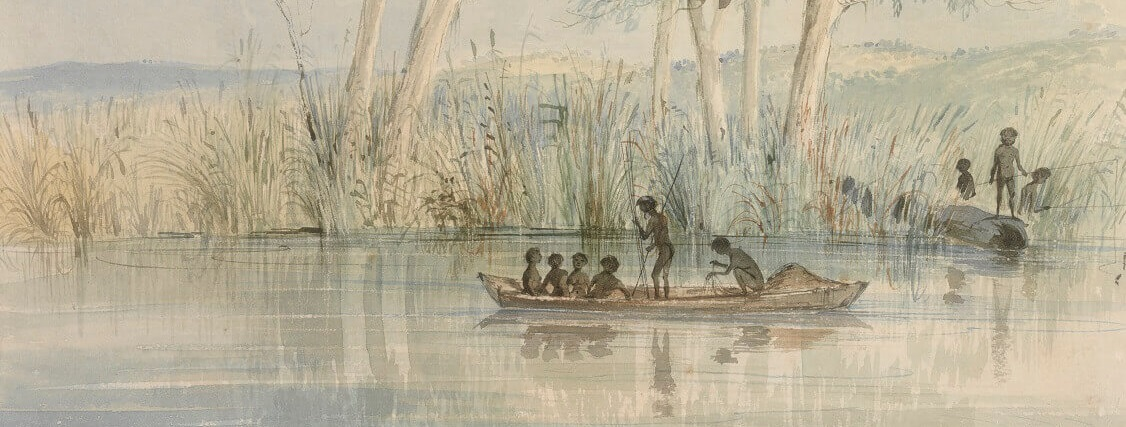Watercolour image showing First Nations individuals in a canoe on a waterway. 4 are sitting down, one is standing with a spear or pole and behind them another is squatting down and appears to be sorting through something. The bank behind them shows a collection of tree trunks among reeds. There is a fallen log with 3 more figures standing on it in postures which suggest hunting. The image is coloured in blues, greens and browns.
